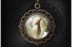 Medalion, naszyjnik - Sarna- romantyczny, antyczny brąz