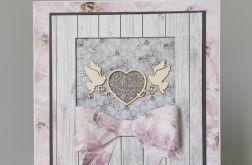 Kartka na Ślub ręcznie robiona duża A5 gołębie