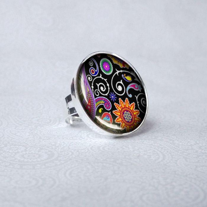 BLACK ORIENTwyjątkowy duży pierścionek  styl orientu