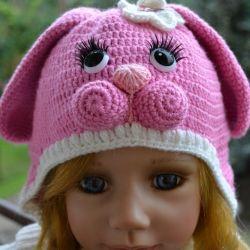 Różowy króliczek czapka i golfik komplet