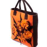 Anardeko 2014-007: Pomarańczowo brązowa torebka z filcu