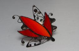 Czerwona Broszka witrazowa Tiffany abstrakcja