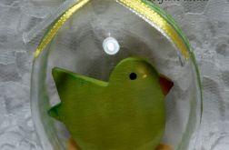 "Jajko akrylowe 3D ""Zielony ptaszek"""