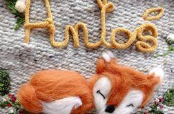 Metryczka dekoracja z imieniem lis makatka