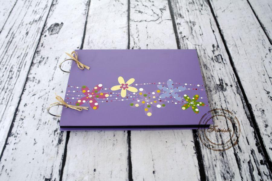 Album na zdjęcia duży fioletowy kwiaty