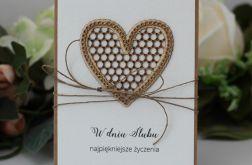 Rustykalna kartka ślubna z sercem 1