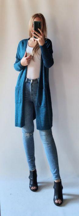 Sweter oversize z kieszeniami szmaragd -