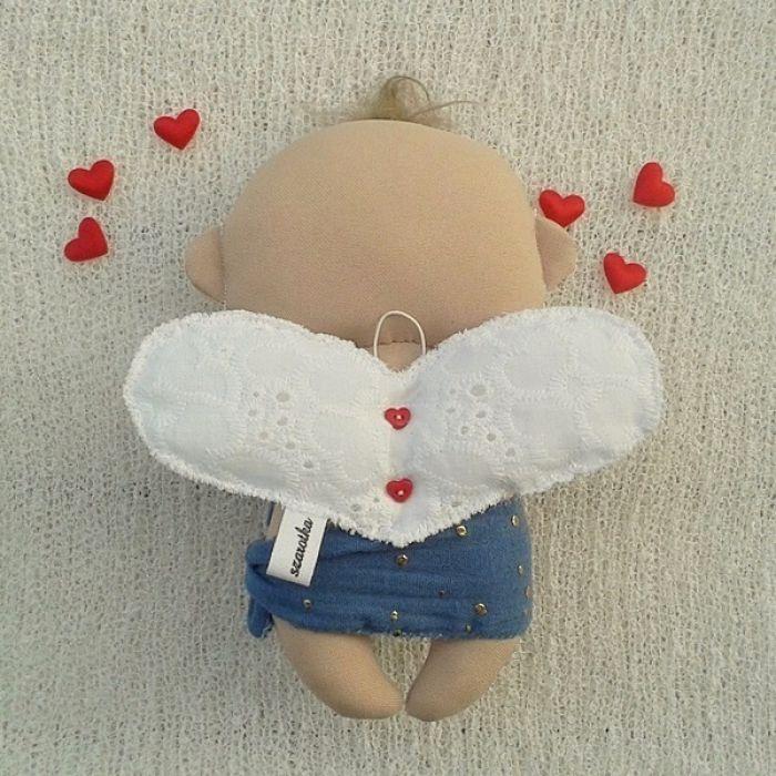 AMOREK, CHERUBINEK dekoracja tekstylna, OOAK - skrzydełka w kształcie serca