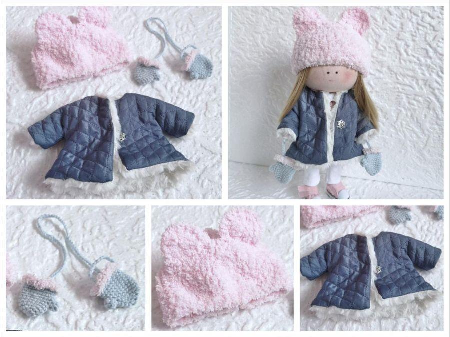 Zimowe ubranka dla lalki. Kurtka,czapka