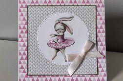 Kartka na roczek ręcznie robiona Narodziny Urodziny królik