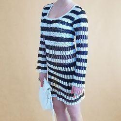 Sukienka szydełkowa biało - czarna
