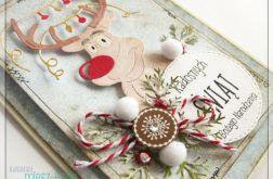 Kartka świąteczna z wesołym reniferem 1