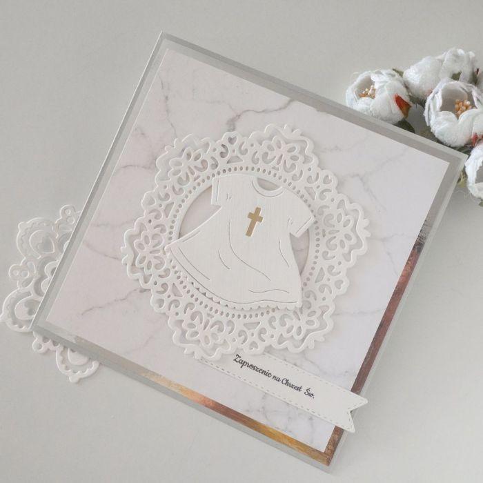 Zaproszenia na chrzest - sukienka