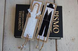 Zakładki ślubne z personalizacją na lnie