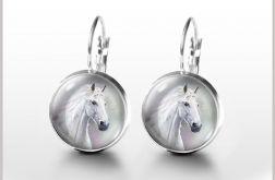 Kolczyki - Biały koń - bigle angielskie