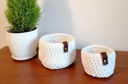 Koszyk ze sznurka bawełnianego biały S