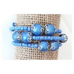 3974 niebieska bransoletka szklane pereły