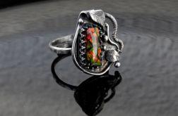 Pierścionek srebrny z ammolitem
