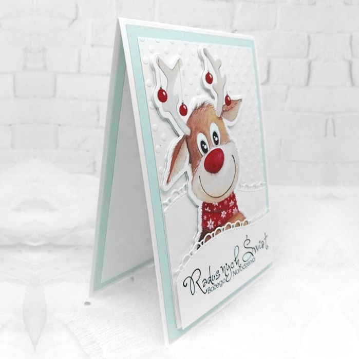 Świąteczna kartka z wesołym reniferem BNR 018 - Świąteczna kartka z wesołym reniferem (3)
