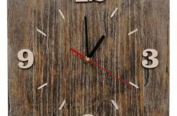 Zegar ścienny drewniany kwadrat postarzany