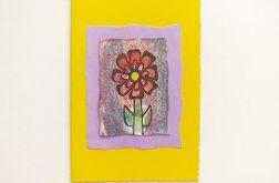 Kartka żółta z kwiatkiem 3