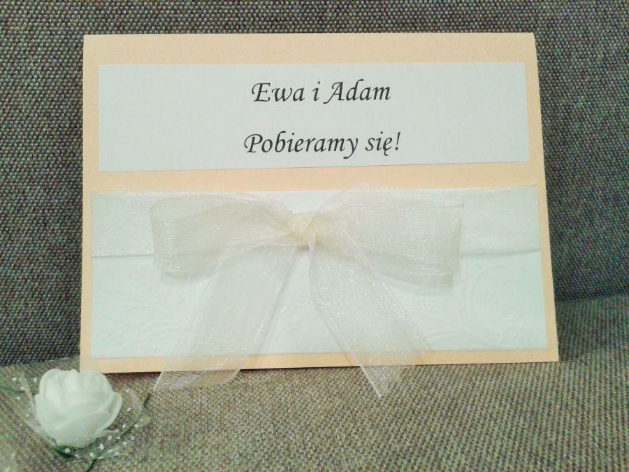 Zaproszenia na ślub z kokardą - zaproszenie na uroczystość