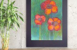 Rysunek kwiaty na czarnym tle nr 9 obrazek