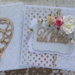 Kartka na ślub z pudełkiem - zestaw 1 - kartka na ślub z kwaitami