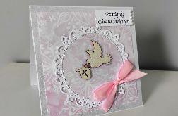 Kartka na Chrzest gołąbek różowa kokarda