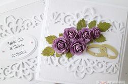 Kartka ŚLUBNA biało-fioletowa