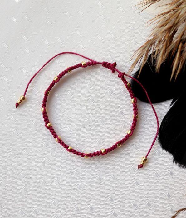 Różowa wyplatana bransoletka ze sznureczka - Plecionka na rękę