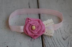 Opaska niemowlęca - Lniany róż