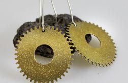 Złote kolczyki - zębatki