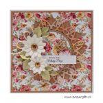 Kartka ślubna białe kwiaty czerwonożółte róże - Kartka na ślub białe kwiaty i kolorowe róże