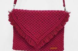 Różowa torebka makramowa makrama boho wege
