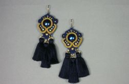 Granatowa perła - kolczyki sutasz z chwostami