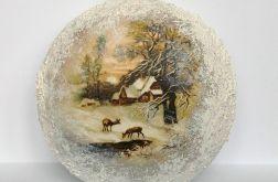 Bombka duża medalion zimowe widoki