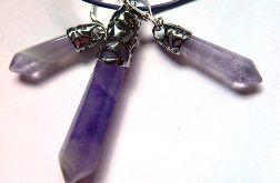 Biżuteria z ametystami, wisior i kolczyki
