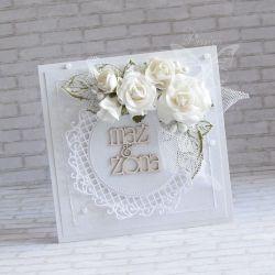 Ślubna kartka w ogrodzie bieli