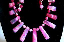 Różowy agat, ekskluzywny zestaw biżuterii