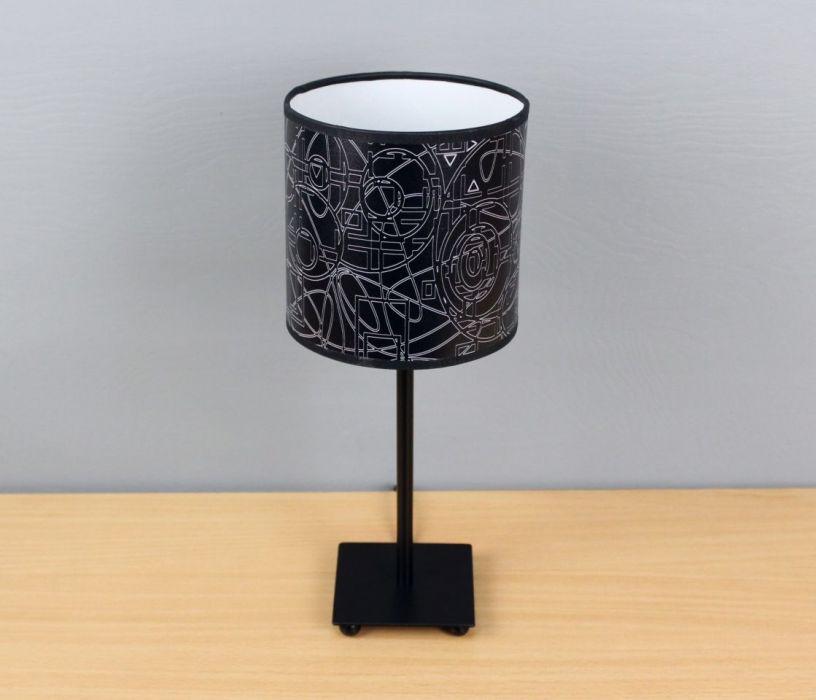 """Czarno-biała lampa nocna stojąca """"wYOBRAŻAJ""""  - zestaw abażur + podstawa"""