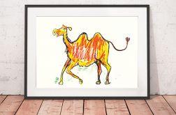 Wielbłąd plakat, ładny obrazek dla dzieci
