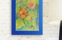 Rysunek z kwiatami granatowym tle nr 6