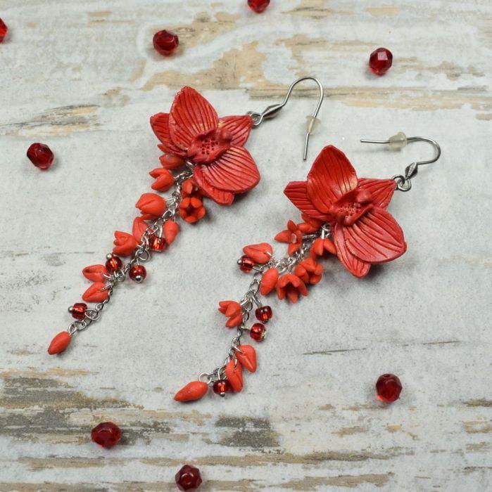 Długie kolczyki kwiaty -czerwone - kolczyki kwiaty