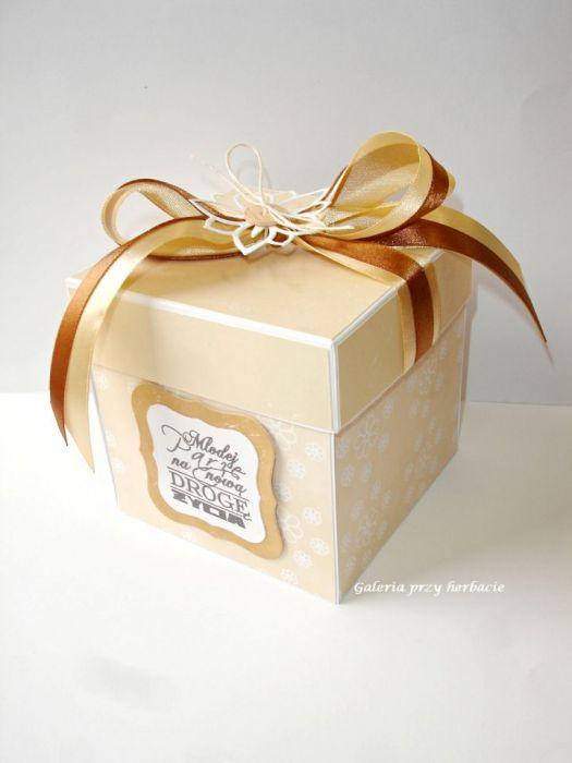 Nietypowy Okaz Pudełko ślubne, kartka na ślub dla Młodej Pary beż - Galeria przy XB08