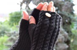 Czarne rękawiczki mitenki - długie