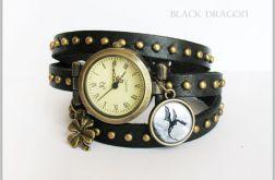 Bransoletka, zegarek - Czarny smok - czarny, nity, skórzany