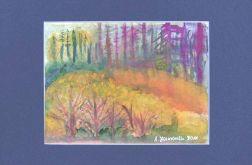 Akwarela ręcznie malowany obrazek - W lesie