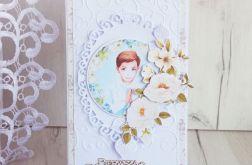 Kartka komunijna DL biała chłopięca GOTOWA