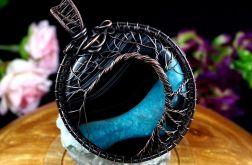 Drzewko Szczęścia wisior z agatem niebieski